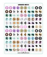120 gráficos de perros sobre color 14mm