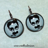 "Pendientes clip ""Groucho Marx"" base negra 20mm"