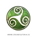 Cabuchón Cristal estampado Celta VERDE CLARO TRISKEL M003