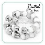 Abalorio cristal ovalado blanco y plateado 10x13mm (10 unidades) ABAL-Cristal C28435