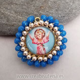 "Producto Acabado - Medalla religiosa - Modelo redondo20mm dorado ""Niño Jesús"" tono Azul"