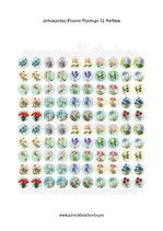 100 Imágenes estampados Flores Vintage II 15x15mm