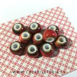 Abalorio cerámica  Rojo tierra  ABC001 (10 unidades)
