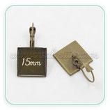 Pendiente camafeo cuadrado recto 15mm bronce viejo clip  ACCBAS-PB816
