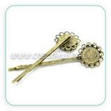 Accesorios pelo -Base Horquilla camafeo 12mm adorno bronce viejo HOROOO-C17123 (10 unidades)