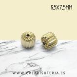 Entrepieza dorada - Abalorio de latón estriado hipoalergénico 8,5mmx7,5mm P04 (10 unidades)