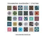 Lámina 30  Imágenes ornamentos cuadrados I 20x20mm