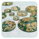 Cabuchón Cristal Colección PAPEL VINTAGE Verde y Beis