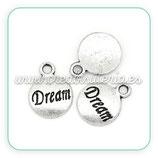 """Charm medalla plata antigua """"dream"""" (20 unidades)  CHAOOO-C22065"""