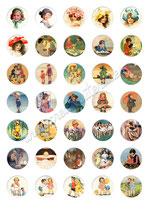 35 Imágenes vintage de niños 30x30mm