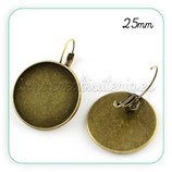 Pendiente camafeo oval bronce antiguo 25mm (Un par) ACCBAS-P573