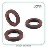 Madera abalorio redondo anillo 30mm color madera oscuro  (10 unidades)