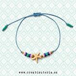 Pulsera acabada /  Estrella de mar color crudo + Katsuki y cordón azul