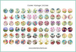 72 Imágenes vintage de flores 18x18mm