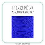 Cordón macramé 1mm  Calidad Suprema  Color Azul eléctrico (5 metros)