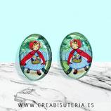 Cabuchón Cristal ilustrado infantil - Caperucita Roja ovalada  (2 unidades)
