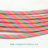 CESCALADA025 - Cordón de Nylon de Escalada  4mm  Modelo tutifruti  - rosa naranja verde (3 Metros)