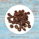 Madera abalorio  pequeño tubo plano  de color  marrón 8x3,5mm (200piezas) Aba-Mad-C041-5