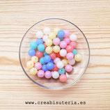 Bolsita 40 bolas estriadas acrílicas 11mm color pastel agujero 2mm P68005 (40 piezas)