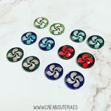 Lote liquidación -  6 pares de cabuchones cristal lauburus de colores mix