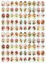 100 Imágenes vintage de Rosas 13x18mm