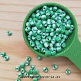 Abalorios -  Cristal de colores rocalla bicolor verde claro/ Blanco -  grande -  3,5/4mm  20gr S0620
