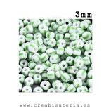 Abalorios -  Cristal de colores rocalla bicolor verde claro/ Blanco 3/3,5mm  20gr YRP41B