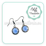 KIT PENDIENTES Hippies plateados triskel espirales azul sobre blanco