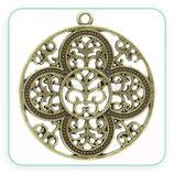 COLGANTE A -  021 - Mandala 4 pétalos y ornamentos bronce viejo
