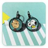 Bisutería acabada- Pendientes - Clip negro Carlitos y Snoopy