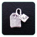Charm bolsita de Te plateada CHAOOO-C01655 (10 unidades)