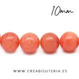 Abalorios Piedra Jaspe naranja 10mm C22321  20 piezas aprox.