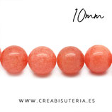 Abalorios PiedraJase naranja 10mm C22321  32 piezas aprox.