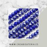 Abalorios -  Cristal facetado  4x3mm color azulón efecto plateado P04807 (135 piezas)