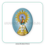Cabuchón Cristal Religión - Virgen del Pilar clásica fondo azul