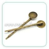 Accesorios pelo -Base Horquilla sencilla - camafeo 12mm  bronce viejo HOROOO-C03