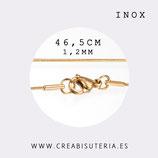 INOX - Cadena con cierre inox  dorado 1mm modelo serpiente, finita  46cm  Inox P281
