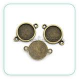 Camafeo conector sencillo 10mm bronce antiguo CAMBAS-C18942a (10 unidades)