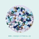 Abalorios -  Cristal cubitos minis de 2x2mm Mix Colores 200 unidades aprox. P12102