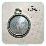 Camafeo base tipo medalla de 15x15mm plata vieja CAMBAS-P19755 (10 unidades)