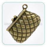 Charm bolso de mano cuadraditos bronce viejo CHAOOO-C12682 (3 unidades)