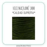 Cordón macramé 1mm  Calidad Suprema  Color Verde Oliva  Oscuro (5 metros)