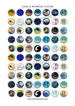 70 Imagenes Lunas y estrellas 20x20mm