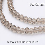 Abalorios -  Cristal facetado  3x2mm color gris topo semitransparente R135