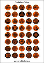 Lámina Imágenes de Símbolos Celtas Rojo Fuego I