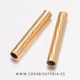 Tubo fino de  cilíndrico latón dorado retorcido   T522-12MM  (10 unidades)