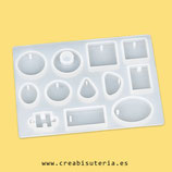 Molde de silicona , 12 formas variadas , puzle, aros, óvalo, etc. Ideal para colgantes  MS020