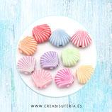 Abalorio acrílico conchas 12mm color mix pastel C22 (40 unidades)