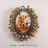 Producto Acabado - Medalla Arcángel Miguel bordada con cristal checo facetado