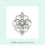 Conector Espiritual 1X - X -  pieza simbolo flor de  la vida plata vieja * C285 (10 unidades)